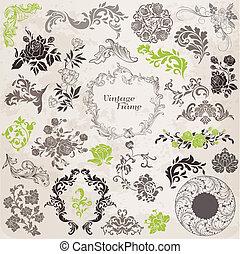 elementy, ozdoba, ułożyć, zbiór, calligraphic, wektor, projektować, rocznik wina, kwiaty, strona, set: