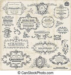 elementy, ozdoba, ułożyć, zbiór, calligraphic, wektor, projektować, rocznik wina, strona, set: