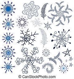 elementy, projektować, płatki śniegu, zbiór