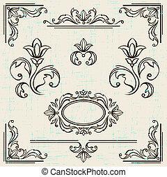 elementy, rocznik wina, calligraphic, ozdoba, frames., projektować, strona