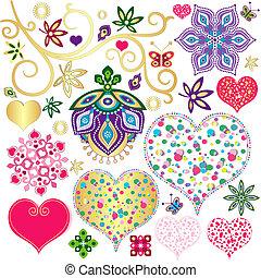 elementy, serca, komplet, barwny, projektować