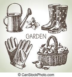 elementy, set., ogrodnictwo, rys, projektować, ręka, pociągnięty