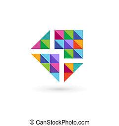 elementy, szablon, mozaika, logo, ikona, e-poczta, projektować, koperta