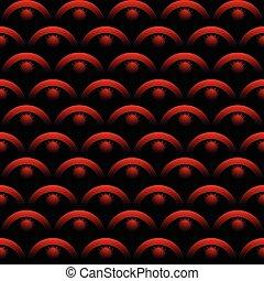 elementy, sztuka, tło., effect., nachylenie, seamless, wzory, optyczny, czarnoskóry, tabela, tło, 3d, kolor, czerwony
