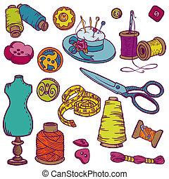 elementy, szycie, -, ręka, wektor, projektować, doodles, pociągnięty, zestaw