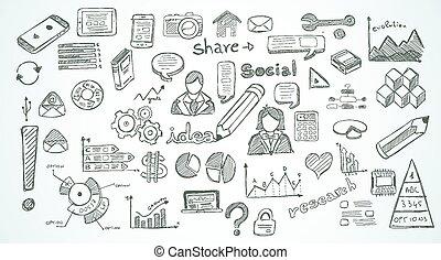 elementy, towarzyski, komplet, media, infographics, rys, doodles