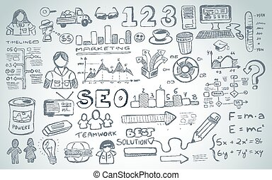elementy, towarzyski, odizolowany, komplet, media, infographics, rys, doodles