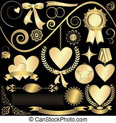 elementy, (vector), komplet, złoty, projektować