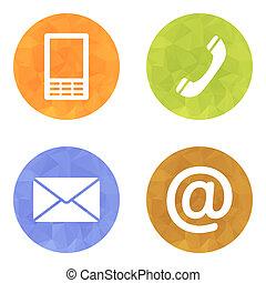 email, komplet, ikony, ruchomy, koperta, -, pikolak, kontakt, telefon