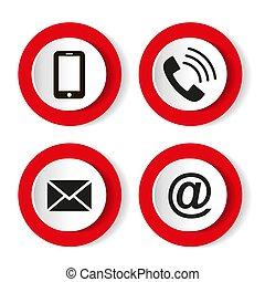 email, komplet, ruchomy, koperta, -, icons., kontakt, pikolak, wektor, ilustracja, telefon