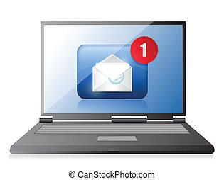 email., komunikacja, laptop, pojęcie