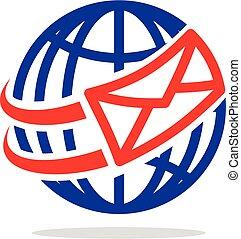email, koperta, wektor, ilustracja, logo, eps, 10., szablon, design.