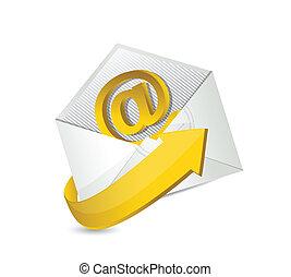 email., na, kontakt, projektować, ilustracja, mail.