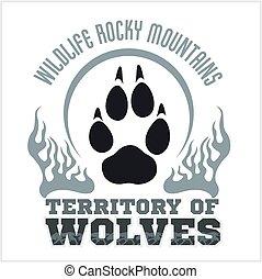emblemat, ślad stopy, wolves