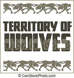 emblemat, retro, wolves