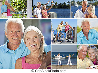 emerytowany, romantyk, montaż, para zwolnienie, senior, szczęśliwy