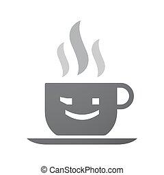 emoticon, ikona, filiżanka, odizolowany, twarz, mrugnięcie, kawa, tekst