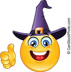 emoticon, kapelusz, czarownica