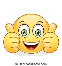 emoticon, pokaz, kciuk do góry