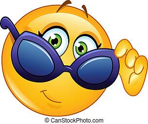 emoticon, przeglądając, sunglasses