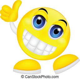 emoticon, smiley, kciuk do góry