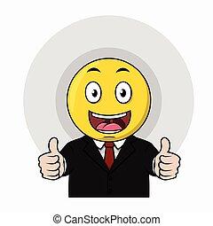 emoticon, szczęśliwy, do góry, kciuk
