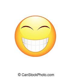 emoticon, uśmiech, wielki kęs