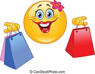 emoticon, zakupy