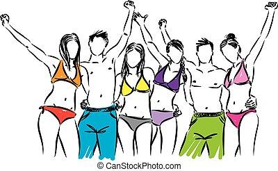 en, grupa, ludzie, ilustracja, wektor, garnitur, pływacki