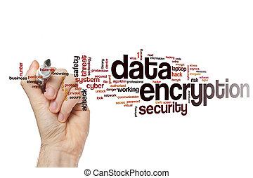 encryption, słowo, dane, chmura