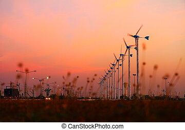 energia, czysty, wiatr turbina