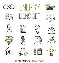 energia, ikony, wektor, set.