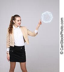 energia, kobieta, magiczny, ball., jarzący się