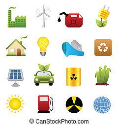 energia, komplet, czysty, ikona