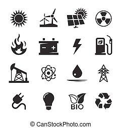 energia, komplet, ikony