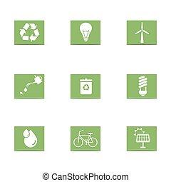 energia, komplet, zielony, ikony