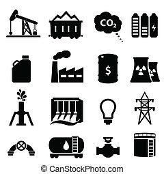 energia, nafta, komplet, ikona