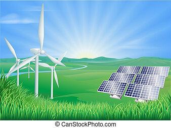 energia, odnawialny, ilustracja