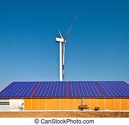 energia, słoneczny, wiatr
