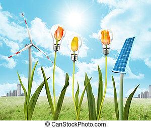 energia, słoneczny, wiatr, poduszeczka