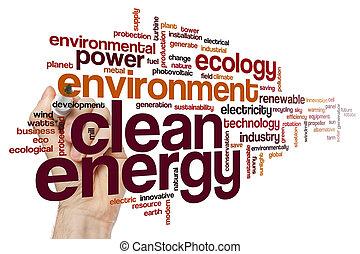 energia, słowo, czysty, chmura