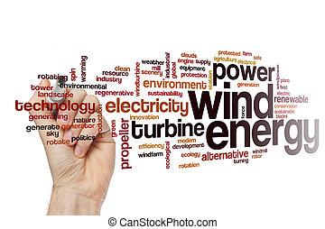 energia, słowo, wiatr, chmura