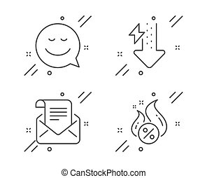energia, set., użytek, ikony, poczta, poznaczcie., wzruszenie, pogawędka, wektor, pożyczka, uśmiech, newsletter, e-mail., otwarty, gorący, krople, moc