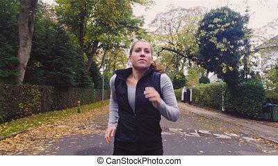 energiczny, kobieta bieg, droga