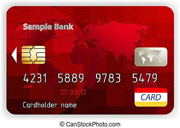 eps, kredyt, wektor, przód, 8, prospekt., bilety, czerwony