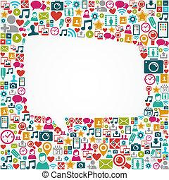 eps10, ikony, media, formułować, mowa, towarzyski, biały, bańka, file.