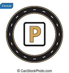 eps10, okólnik, biały, droga, mapa, tło., parking