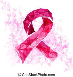 eps10, rak, wstążka, świadomość, file., triangle, pierś
