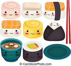 eps10, sushi, -, zbiór, wektor, rząd