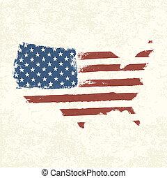 eps10, usa, flag., map., amerykanka, formułować, wektor